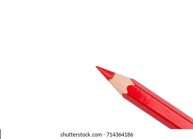 One red pencil at an angle from below