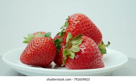 One Red Ripe Juicy Fresh Strawberry