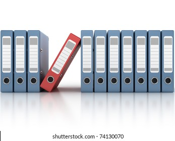 one red and the row of blue ring binders isolated on the white background 3d illustration