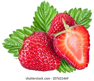 One rich strawberry fruit isolated on a white background. Two clipping path.
