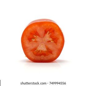One ring of San Marzano tomato isolated on white background