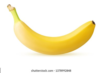one ripe banana isolated on white background with clipping path