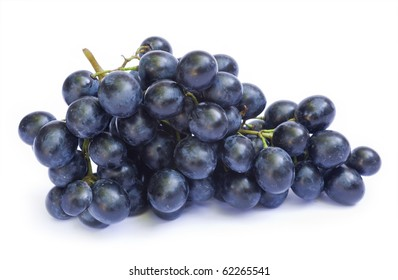 One ripe blue grapes isolated on a white background