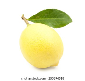 one ripe lemon in closeup isolated on white background