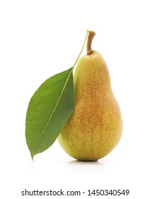 One ripe pear isolated on a white background.