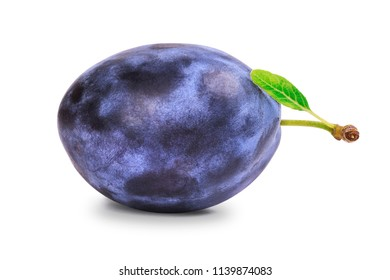 One ripe plum with green leaf isolated on white background