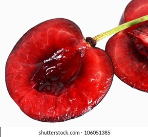one ripe red cherry on white background