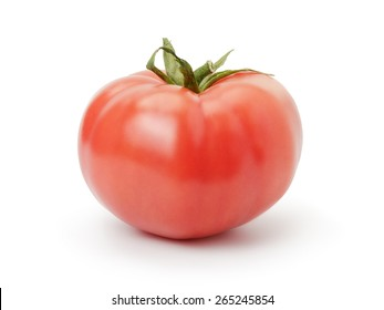 one ripe red tomato isolated on white