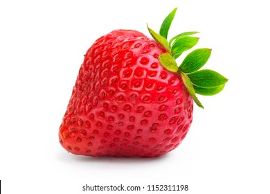 One ripe strawberry with green leaves isolated on white background macro shot