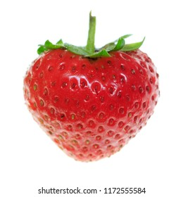 One ripe strawberry on a white background