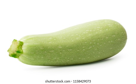 One ripe zucchini closeup on a white. isolated