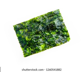 One roasted sheet of seaweed, isolated on white background. Asian healthy dry nori snack food.