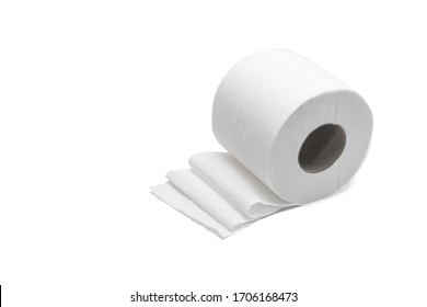 One roll of toilet paper on its side with unraveled sheets in folds. Isolated on white background.