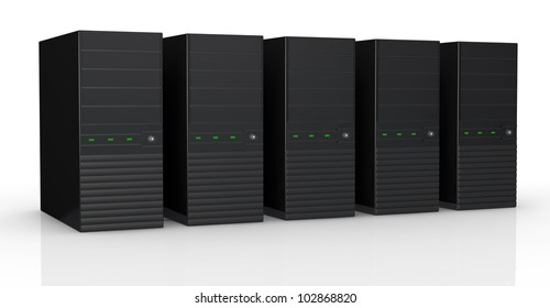 one row of five black computers (3d render)