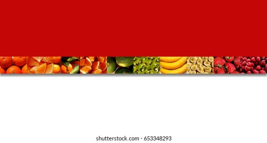 One row of ten small rectangles full of fruity textures: citrus fruits, bananas and berries, all sliced, cut or uncut, on two-tone background: red and white