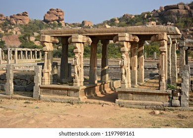 """One of the ruined pavilions near Vitthal temple street, Hampi, Karnataka"""