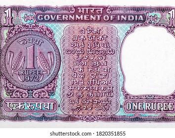 Une pièce de roupie de 1968. Portrait d'Inde 1 roupie Billets de 1968.