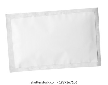 One sachet isolated on white. Single use package
