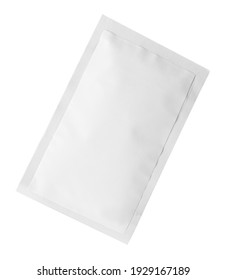 One sachet isolated on white. Single use package