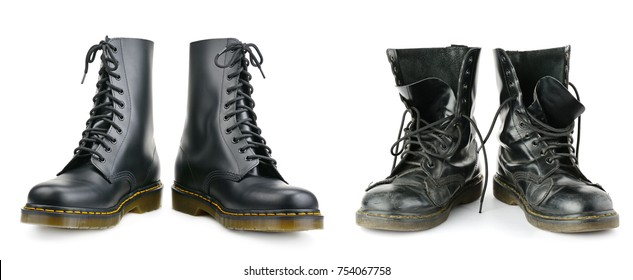 One and the same pair of black men's boots. New and worn out. Isolated on white background.