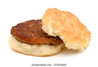 one sausage biscuit on white background
