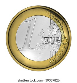 One scratched euro coin
