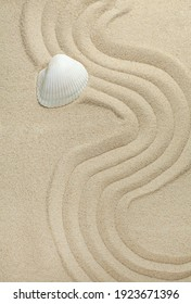 one sea shell on sand top view concept zen