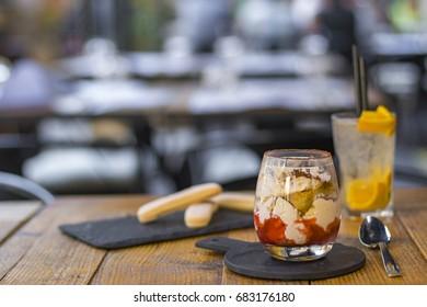 One serving of strawberry tiramisu in an italian restaurant