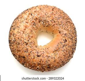 one sesame bagel on white background