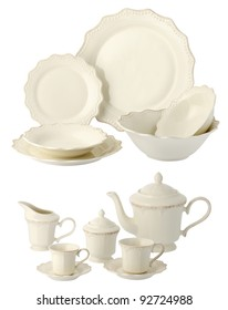 one set of a classic dinner service without decorations