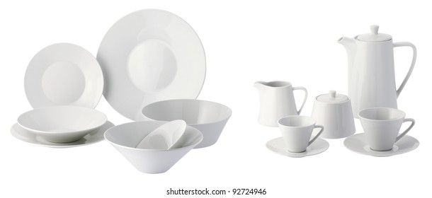 one set of dinner service in white ceramic