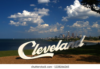 One of several of the Cleveland Script signs located in and around rthe Cleveland, Ohio skyline. This is from Upper Edgewater Park.