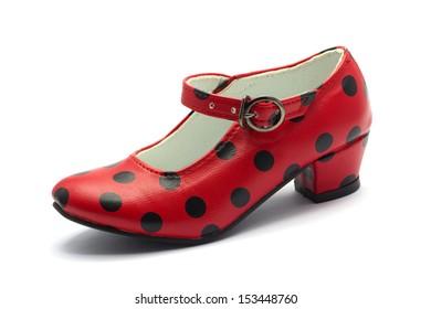 one Sevillian flamenco dancing shoe Red shoe with black dots