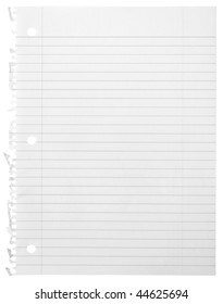 One sheet from notebook on white background