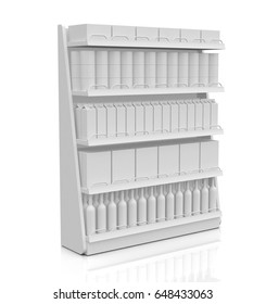 one shelf full of products, white background (3d render)