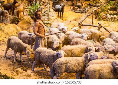 One shepherd with a herd of sheep