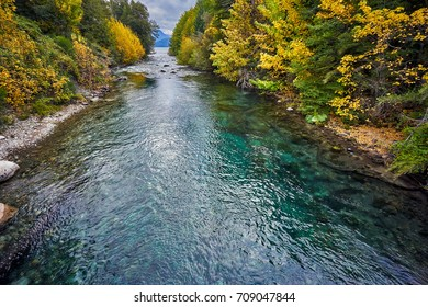 One of the Shortest river in the world. 200 meters Correntoso River, Villa La Angostura, Seven Lakes Route  Neuquen, Patagonia, Argentina
