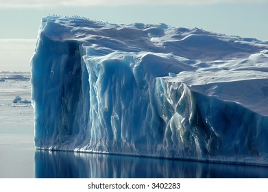 One side of a blue Antarctic iceberg in the Southern Ocean on a nearly flat sea covered by ice floes. Some snow petrels are sittng on the top. Picture was taken during a 3-month research expedition.