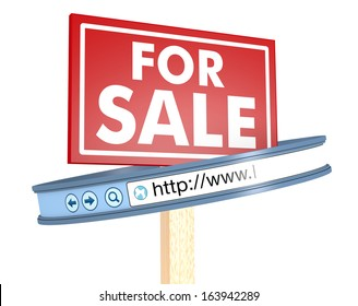 one signboard with text: for sale and a web address bar, concept of selling online (3d render)