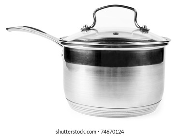 One silver casserole isolated on white