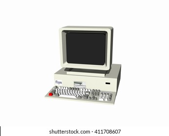 one simple old home computers. Monitor with cathode ray tube. White background