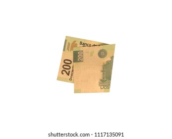 One single folded mexican peso 200 bill isolated on white background