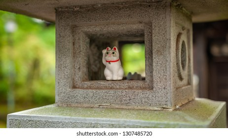 """One, single maneki-neko, or also known as """"beckoning cats"""", which portrays a cat sitting up and beckoning with its front paw, while sitting in a stone lantern, can be seen in Tokyo's Gotokuji Temple."""