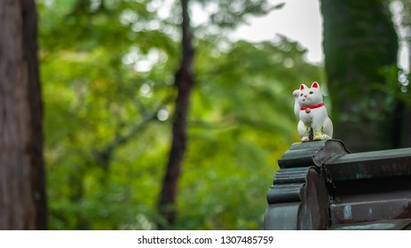 """One, single maneki-neko, or also known as """"beckoning cats"""", which portrays a cat sitting up and beckoning with its front paw, in focus with a blurred background can be seen in Tokyo's Gotokuji Temple."""