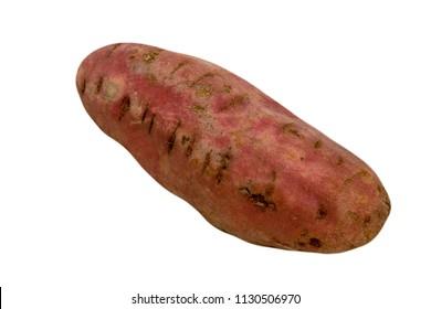 one single sweat potato on white cutout