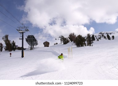 One of the ski slopes on Mammoth Mountain, California.