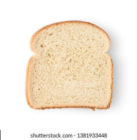 One slice of bread isolated on white background.