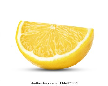 One slice of lemon citrus fruit isolated on white background.