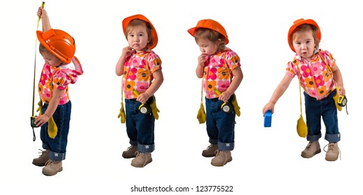 One small little girl wearing orange hard hat, work boots, blue jeans, yellow gloves measuring with measuring tape.