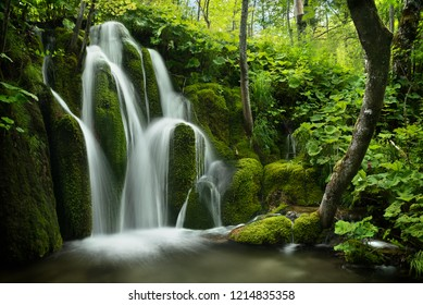 One of the smaller waterfalls in Plitvice Lakes National Parks in Croatia in the summer